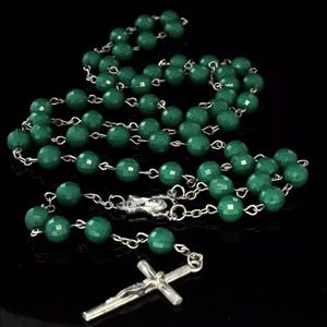 Other - Green Ball 8mm Rosary Chain Necklace Beaded